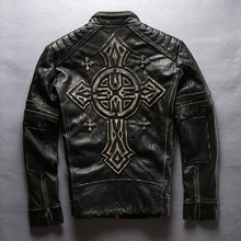Купить с кэшбэком new men's cow leather mens clothing coat cowhide genuine leather vintage rider jacket