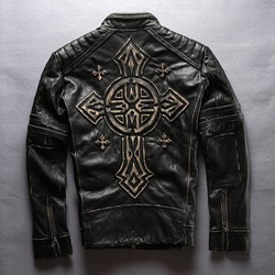 men's cow leather mens clothing coat cowhide genuine leather vintage rider jacket