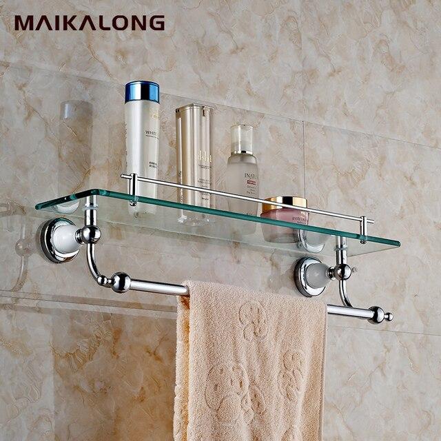 Vetro bagno Montaggio A Parete Mensola con Towel Bar e Ferroviario ...