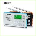 Hot Degen DE29 FM Sintonia Digital de Rádio Banda Completa Receptor Cartão de Campus Rádio Portátil Dropshopping Atacado Y4217A