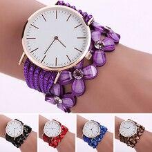 Women Fashion Multilayer Shiny Flower Rhinestone Band Analog Quartz Wrist Watch