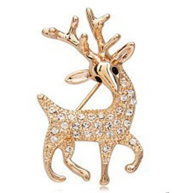 Fashion High Quality Exquisite Sika Deer Brooch Shining Rhinestone Jewelry Golden Color