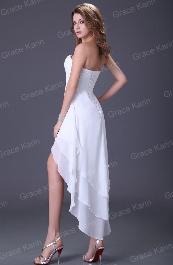 Gracia Karin cuello en V Azul/Negro/Blanco Alto Bajo Cocktail Dress ...