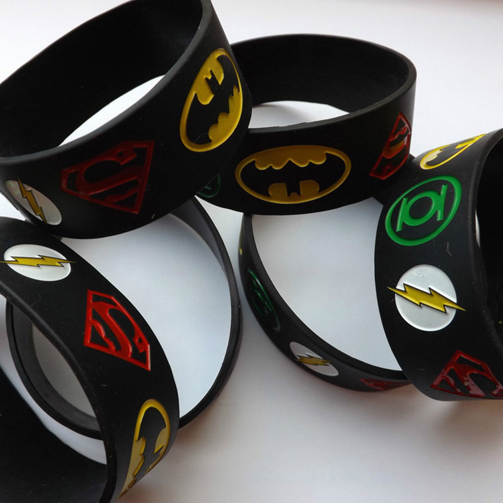 1PC Super Heroes Silicone Bracelet With Superman, Batman, Green Lantern, The Flash, Alternative Design Wristband