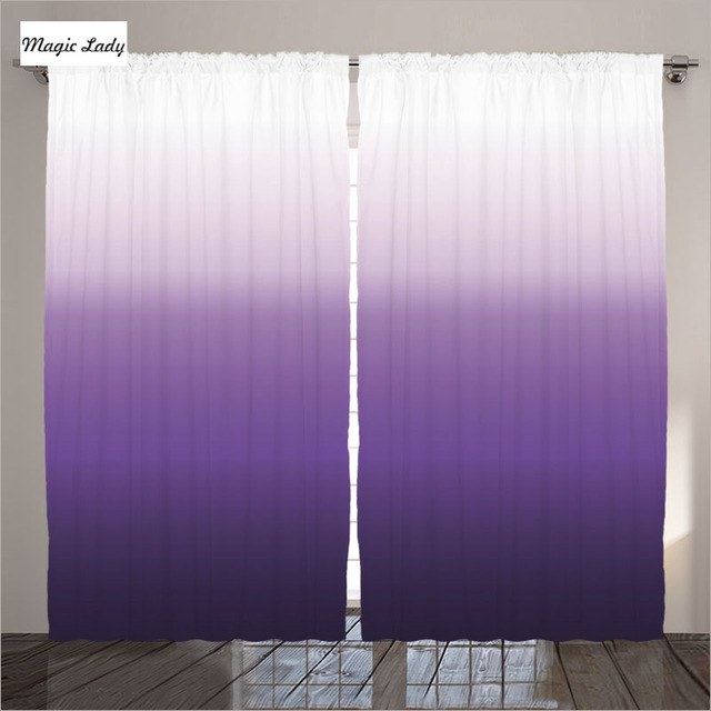 Sheer Curtains Purple Living Room Bedroom Gradient Texture Patterns  Horizontal Stripes Violet White 2 Panels Set