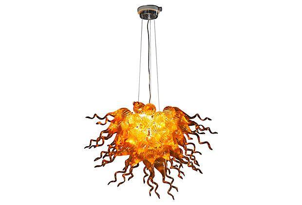 Moderne cristal fleur lustre salle à manger cafés Bar ampoules LED soufflé à la main en verre de Murano AC 110/120/220/240 V