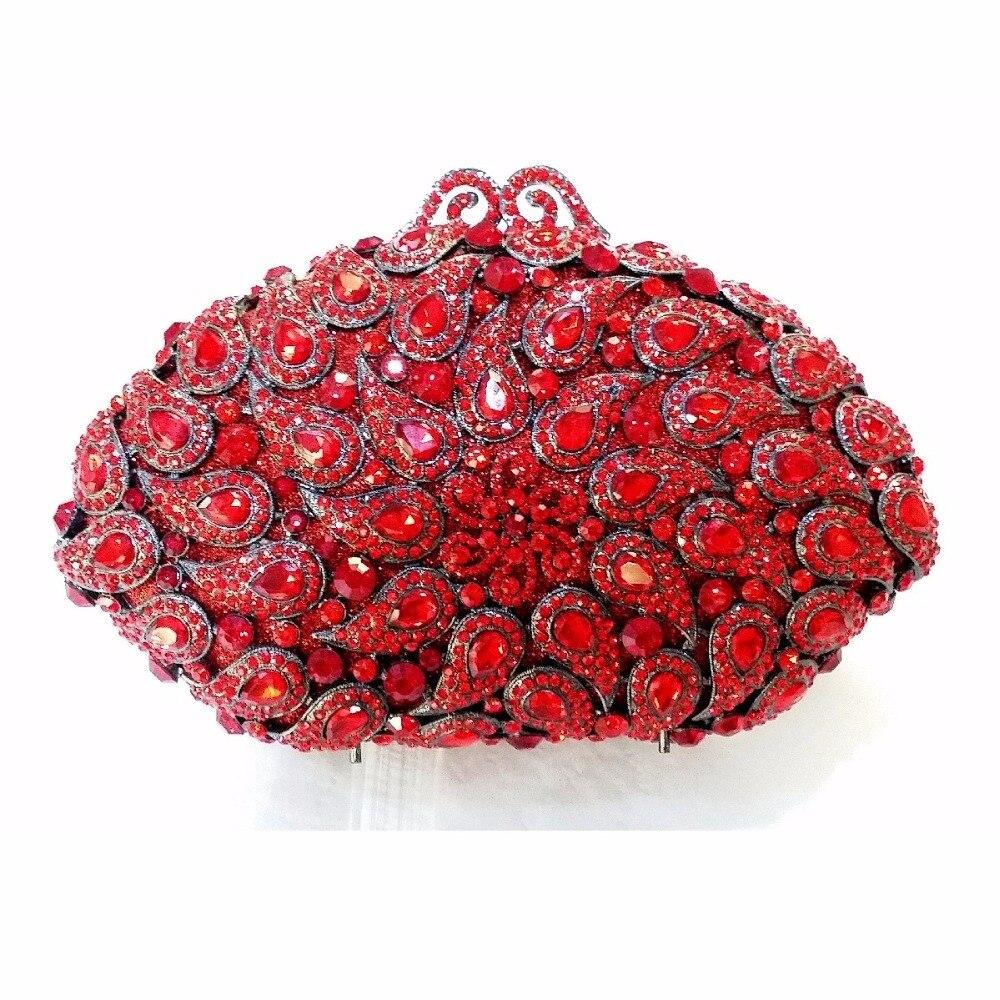 ФОТО 8358RD Red Crystal shell Floral flower Wedding Bridal Party Night hollow Metal Evening purse clutch bag case box handbag