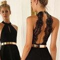 The new Sexy Hollow Out Dress Black Round Collar Backless Zipper Bud Silk Condole Belt Dress Sleeveless Summer Dress