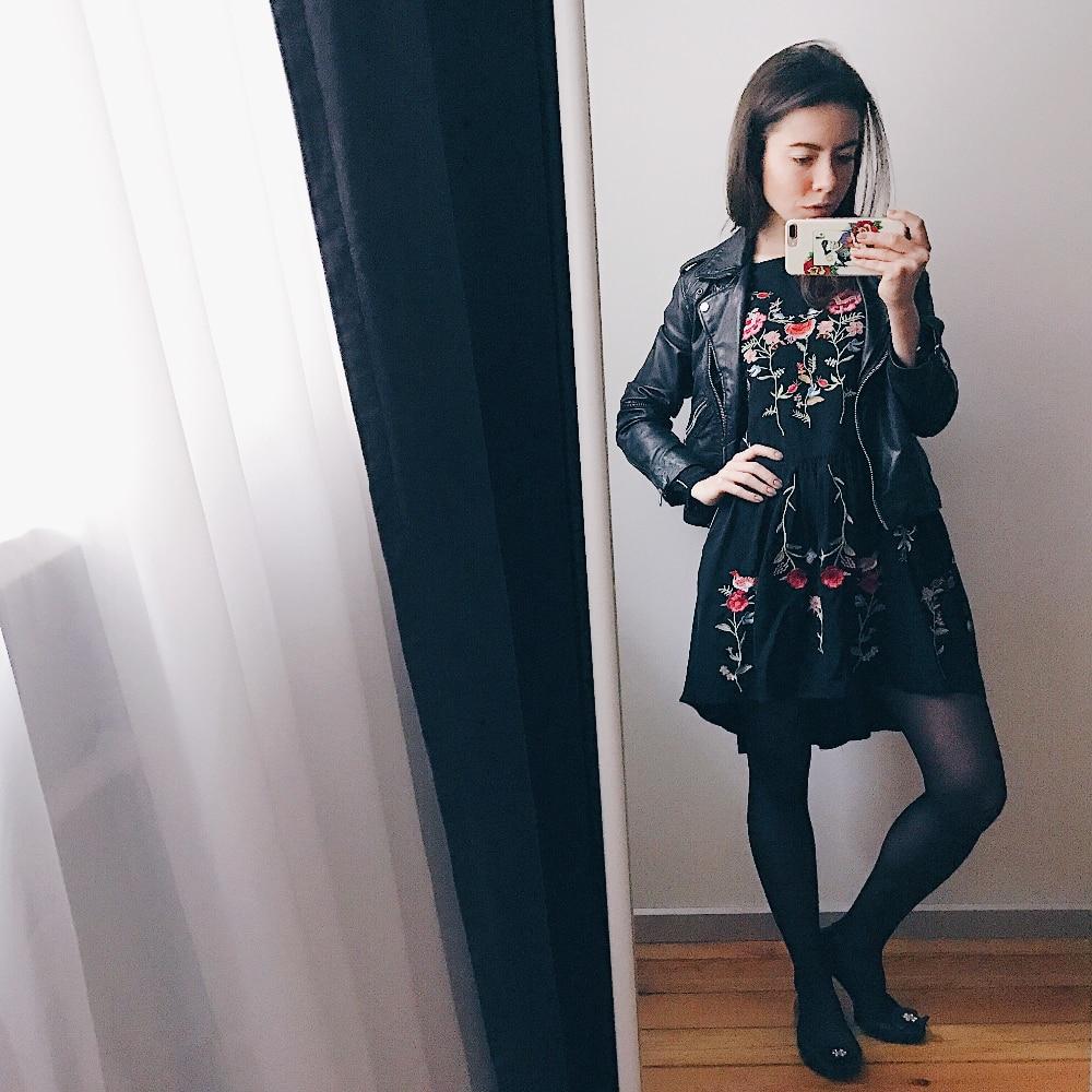 Черное платье с вышивкой фото