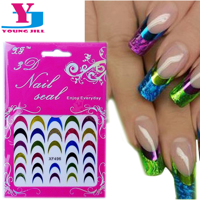 5 unids/lote colorido caliente francés pegatinas de uñas metálica ...