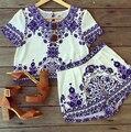 2016 Лето Женщины Устанавливает Новые Случайные Топы И Шорты Комплект Sprint Ретро Синий И Белый Узор Брюки Костюм Женщины Случайный футболка