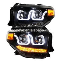 For Toyota for Tundra LED Angel Eyes Head Lights 2014 2015 year U style for original car with LED LF
