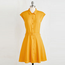 Spring summer yellow short-sleeved dress dress belt polo dress dress is pure and fresh and sweet