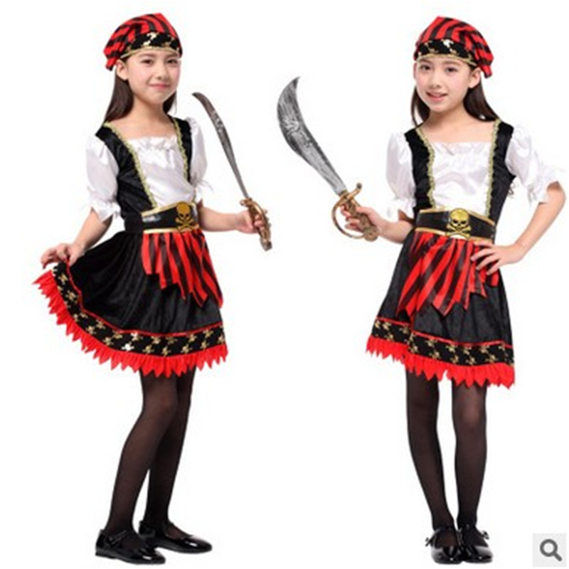M-XL fantasia Halloween Costume for children Kids Girls Pirate Cosplay Sailor Costume disfraces game uniforms