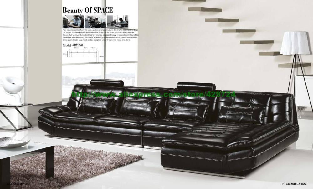 Luxury Italian Top Grain leather37M Length L Shaped Sofa Set