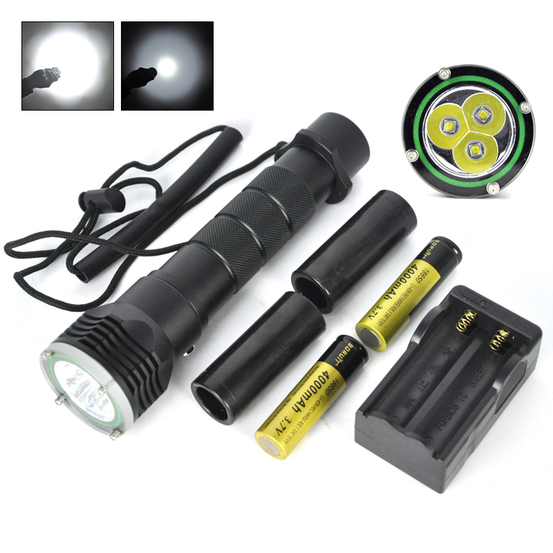 ФОТО 2016 M13 Professional Diving Flashlight 3X  L2 18650/ 26650 Torch Waterproof Underwater 18650 rechargeable battery Coldwhite