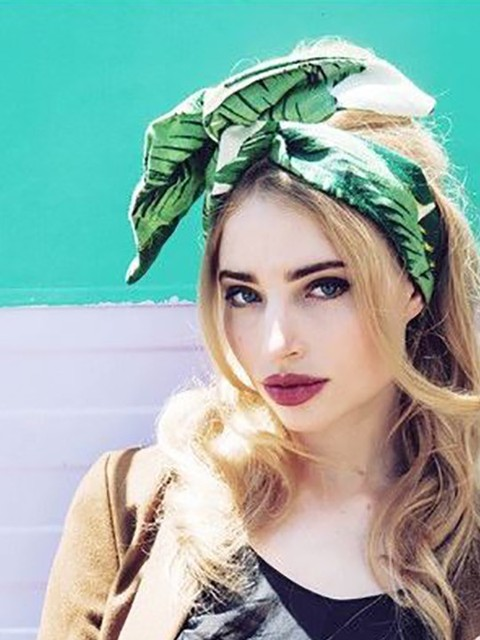 7bec08a26948 women vintage 50s pinup green palm banana leaf headband scarf bow tie  bandans wire wrap head