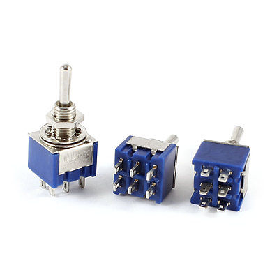 SPDT On/Off/On 3 Way Locking Mini Toggle Switch AC 3A 250V 6A 125V MTS-203 5pcs on off on 3 positions 4pdt 12 pin terminal rocker type toggle switch ac 250v 2a mts 403