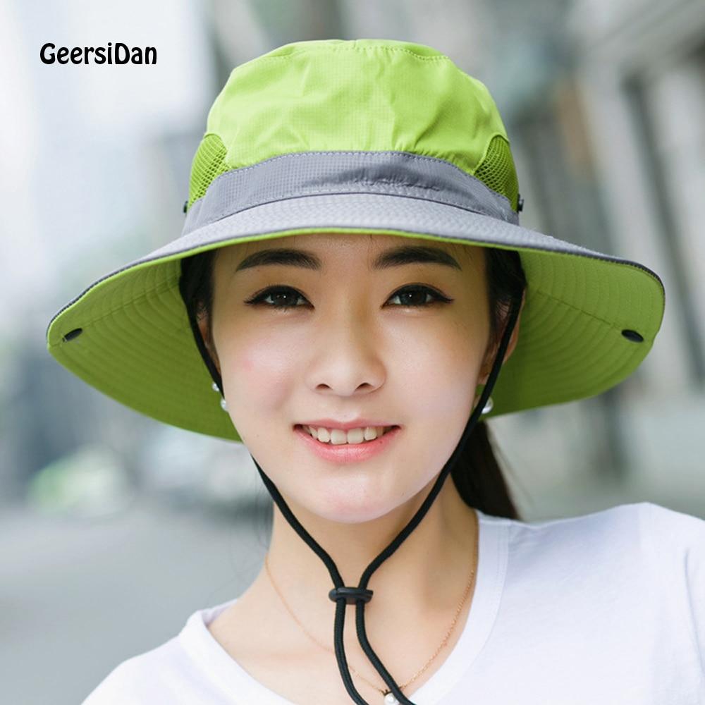 GEERSIDAN Topkwaliteit zomerzon vrouwen Emmer Hoed Mode katoen grote Rand baret cap voor mannen Ademend outdoor hoed visser