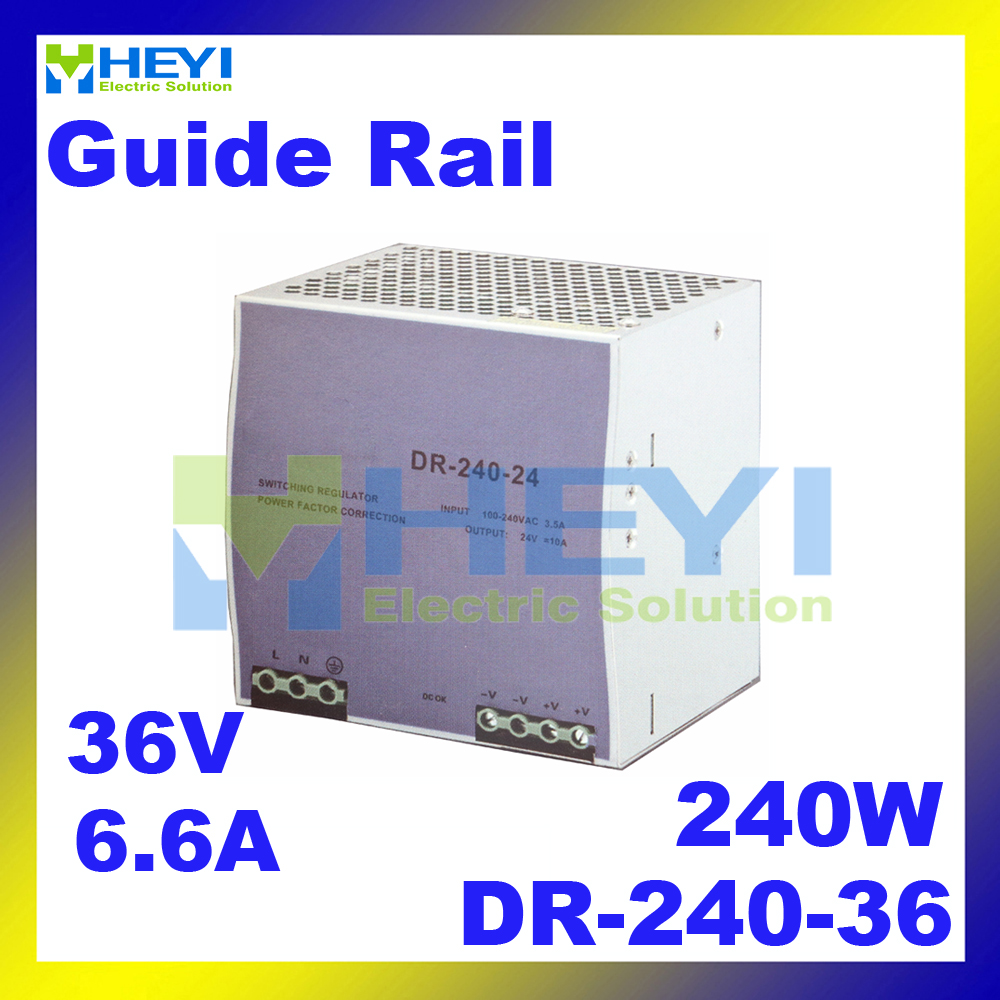 single output switching 36V 6.6A 240W voltage converrter DR-240-36 din rail power supply 240w voltage converrter dr 240 12 single output switching 12v 20a din rail power supply