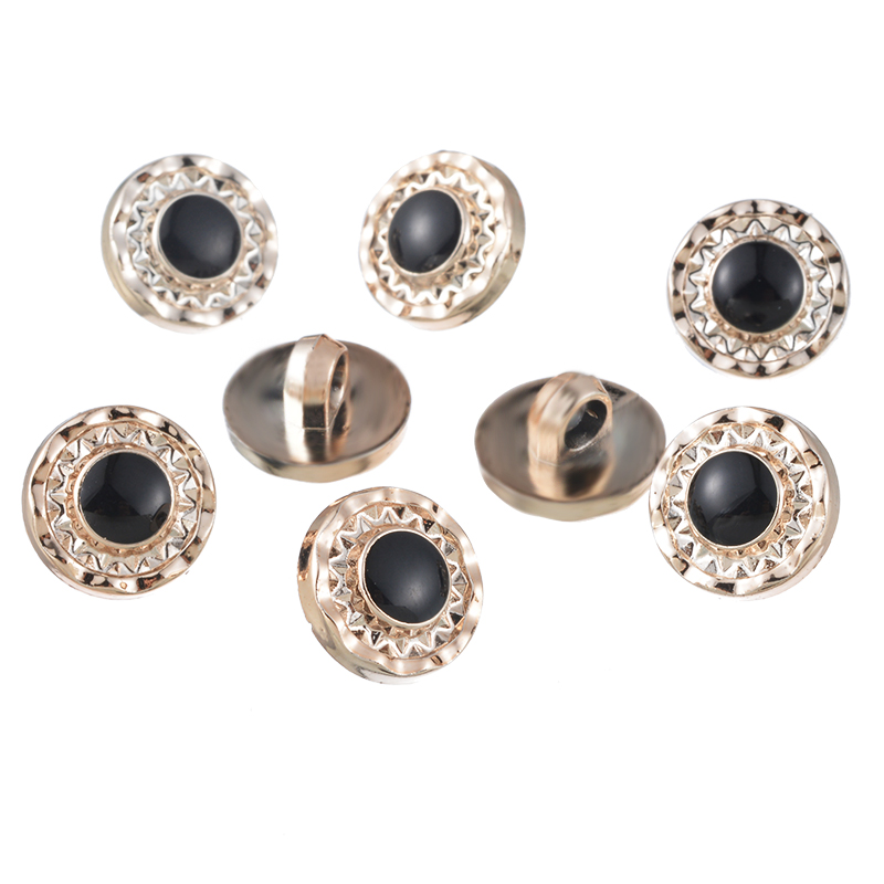 50PCs Black Golden Enamel Acrylic Buttons Round Shank Buttons Clothes Sewing Accessories DIY Scrapbooking Accessories 13mm