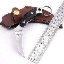 Best Kerambit hunting knife D2 blade camping survival pocket knives black G10 Fighting Claw Knife EDC Tactical rescue knife tool