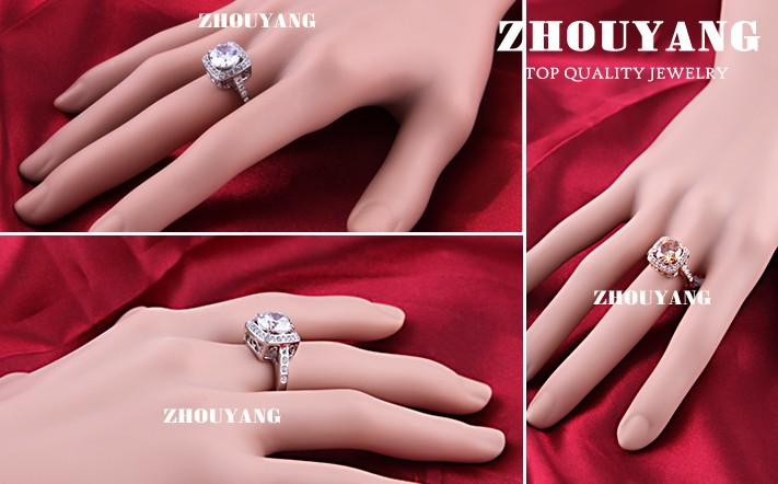 Top Quality ZYR057 Yellow Crystal Rose Gold Color Ring Jewelry Crystals From Austria Full Sizes Wholesale 19