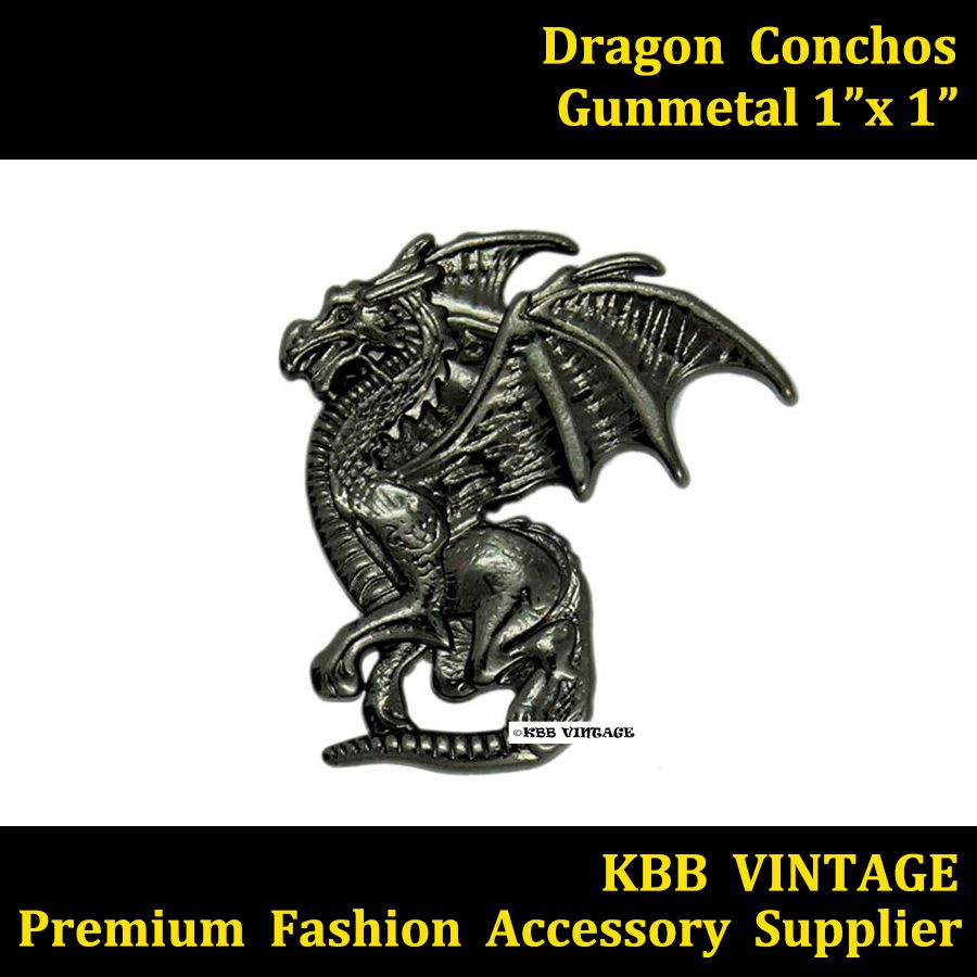 KBD01) 10pc Western Concho Left Winged Dragon Concho Leathercraft ...