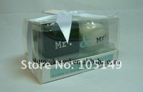 100 шт./лот(50 коробок) Свадебные сувениры Mr and Mrs керамические Солонка и перечница свадебный подарок для гостей и свадебные сувениры
