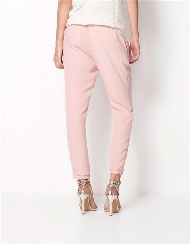 Chiffon Elastic Waist Solid Color Office Pants 3