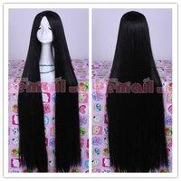 горячая распродажа 100 см длинные черные шелк прямо японский косплей парик волос ml155 бесплатная доставка