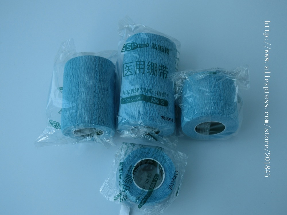 40Pcs elastic wrap cohesive gauze bandage cotton self adhasive bandage blue 2.5x450cm 5x450cm 7.5x450cm 10x450cm wholesale 2016 new elastic knitted ladies fashion blue beading bandage strap crop top
