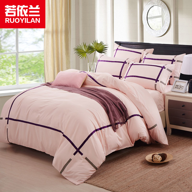 European Solid Color Applique Four-piece Duvet Cover Bed Sheet Pillowcase Home Bedding Set Queen King DHL Free ShiipingEuropean Solid Color Applique Four-piece Duvet Cover Bed Sheet Pillowcase Home Bedding Set Queen King DHL Free Shiiping