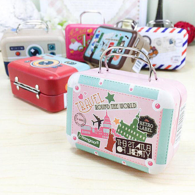 5pcs/lot New Vintage Small Suitcase Storage Tin Candy Box Organizer For  Coin Earring Buttonjewelry
