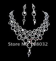 минимальный. заказ $ 15, блестящие комплект ювелирных изделий для невесты, горный хрусталь кольцо сетка