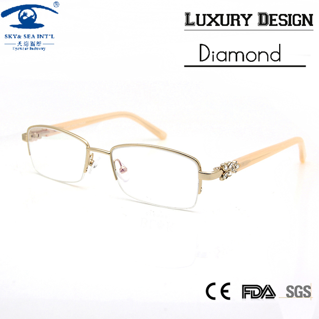 Design Diamond Eyeglass Frame Women High Quality Luxury Half Rim Spectacles Clear Lens Eyeglasses monturas de gafas mujer
