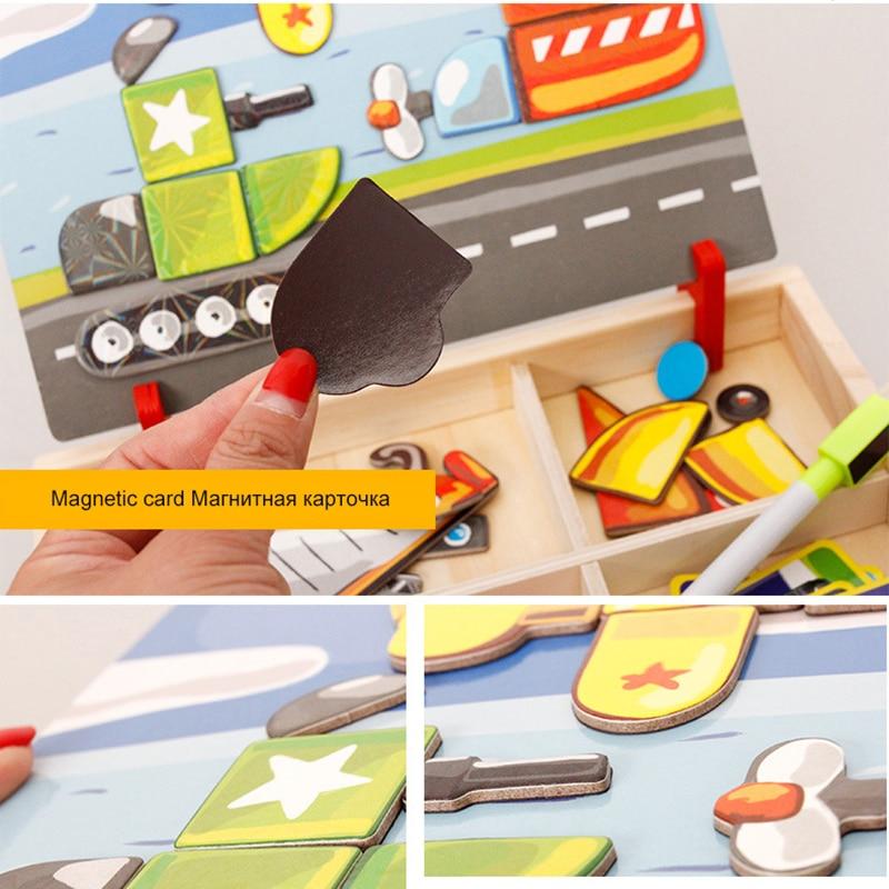 MWZ magnetska zabava jigsaw djeca drvene puzzle odbora kutije komada - Igre i zagonetke - Foto 4