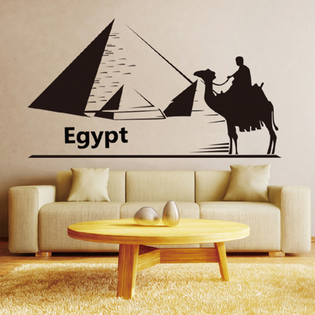 riding camels in egypt wall art mural decor pyramid wall decal