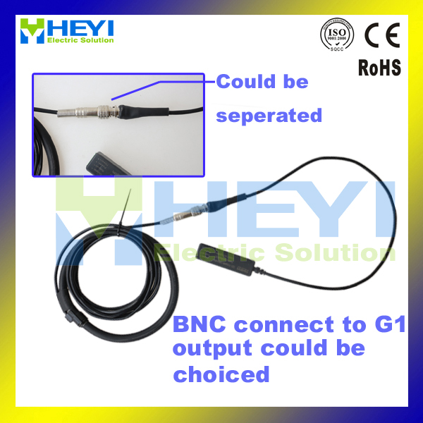 HEYI customised design rogowski coil connect to G1 integrator or BNC connector achieve different output flexible rope ctHEYI customised design rogowski coil connect to G1 integrator or BNC connector achieve different output flexible rope ct