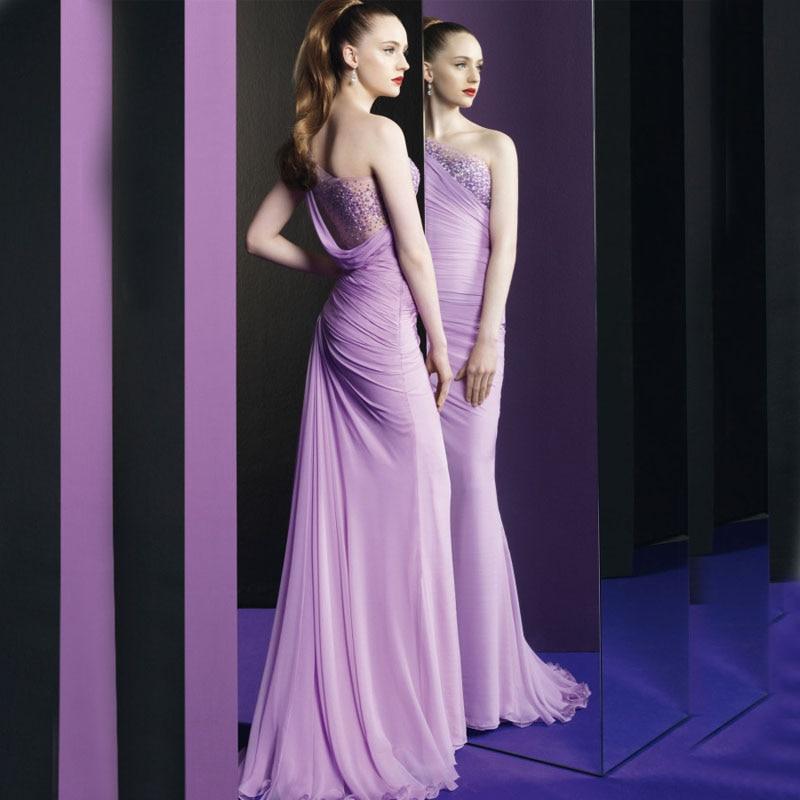 Popular Chiffon Lilac Dress One Shoulder-Buy Cheap Chiffon Lilac ...