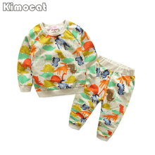 Kimocat Printemps Enfants Filles Vêtements Set Marque Cartoon Boys Sports Costume 2-6 Ans Enfants Pulls de Survêtement + Pantalon bébé Garçons