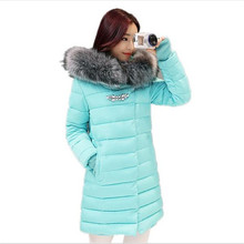 2017 New Winter Jacket Women Long Slim Large Fur Collar Hoode Women Down Cotton Jacket Thick Female Wadded Jacket Plus SizeCM542