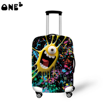 2016 ONE2 Design big eye monster pattern printing korean fashion cover apply to 22,24,26 inch suitcase elastic travel luggage