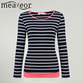 Meaneor Striped T-shirt Women Casual 2017 Fashion Clothing Long Sleeve Striped Slim Fit Tee T Shirt Tops Spring Summer Tee Lady