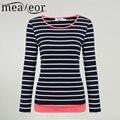 Meaneor clothing striped t-shirt ocasional das mulheres 2017 moda manga longa listrado Slim Fit Tee Camiseta Tops Primavera Verão Tee senhora