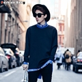 Mens Pullover Turn-down Collar Sweatshirt Long Sleeve with Printed Letter Dec 2016 New Korean Style Sweatshirts Casual Wear