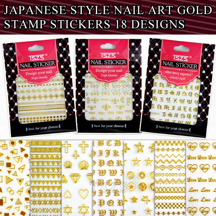 1 sheet/lot Japanese stype nail art gold stamp stickers 18 design