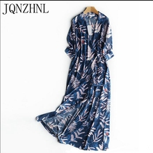 JQNZHNL Women dress 2017 Korea Spring New Sexy Women Dress Elegant slim printing longDress Sleeve v-neck Dress Female AA25