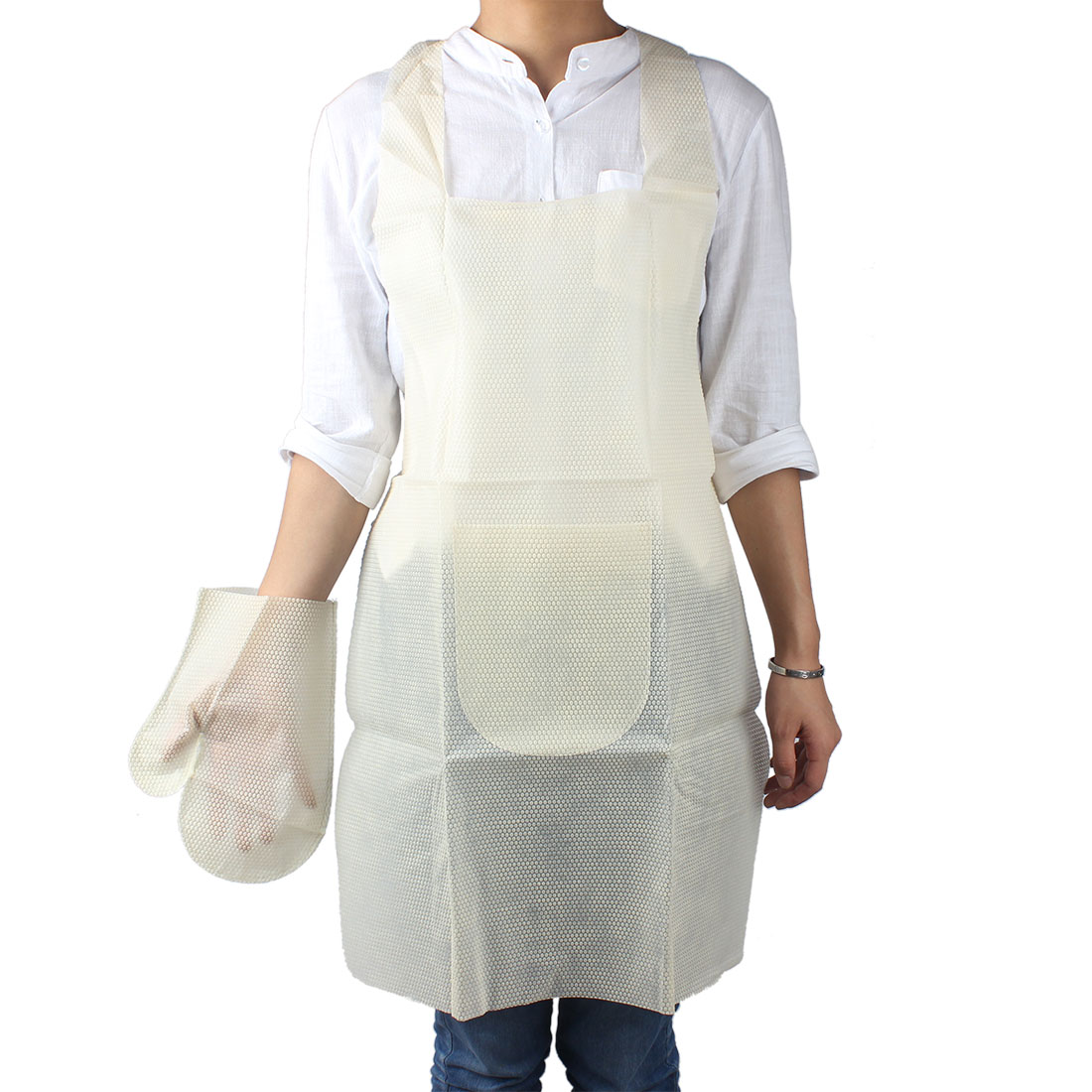 White apron dubai - Uxcell Product Name Dots Print Kitchen Cooking Neck Pocket Disposable Apron Self Tie Bib Dress Apron