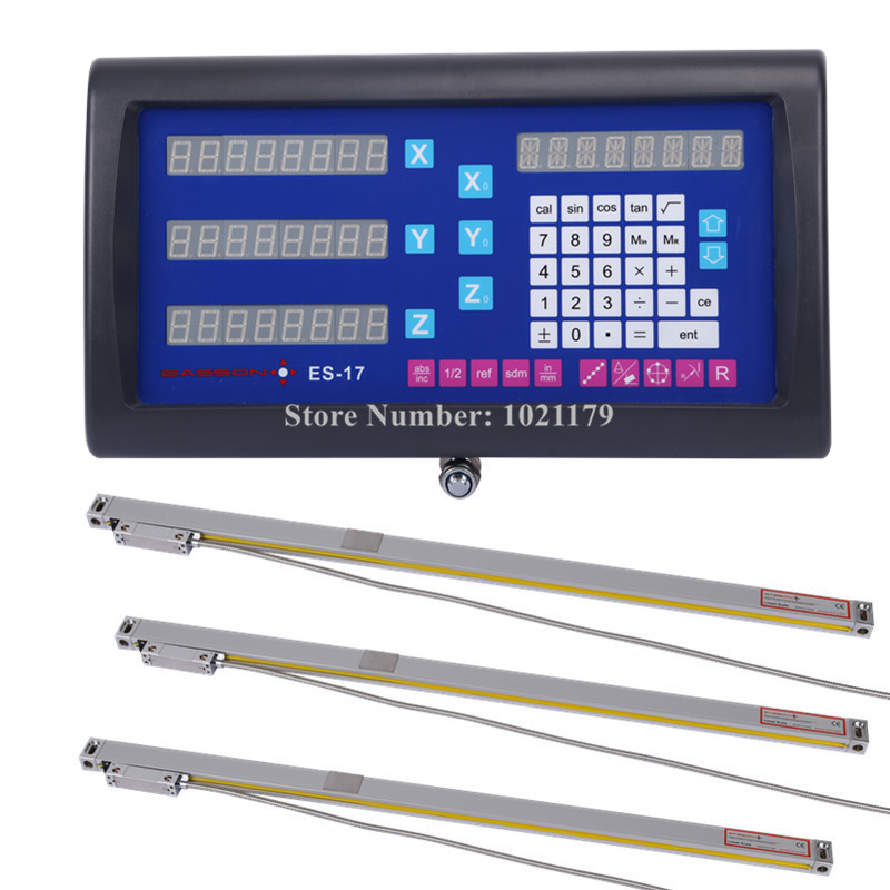 EASSON DRO kit Easson 3 axis DRO digital readout and 3pcs 0-1000mm GS10 linear scale for lathe grinder milling machine free shipping high precision easson gs11 linear wire encoder 850mm 1micron optical linear scale for milling machine cnc